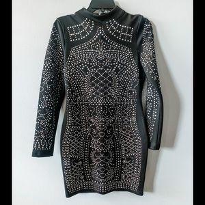 Geometric Rhinestone Long Sleeve LBD Party Dress